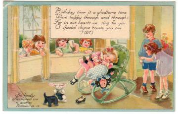 Vintage Birthday Greetings Postcard 1940s Kids Girl with Doll 2 Year Old