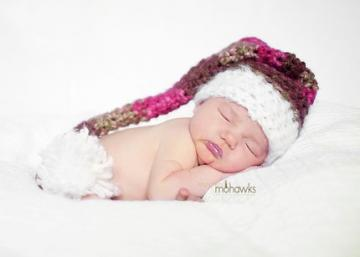 Crochet Newborn Baby Photography Prop Rustic Mohair Trimmed Elf Hat Photo Prop