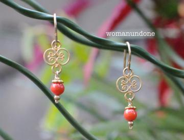 Italian Coral & Coin Silver Drop Earrings (Gold)