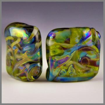 handmade lampwork glass beads set of 2 squares green w/ iridescent colors - Green Nugget Pair