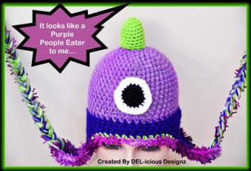 Flying Purple People Eater - Novelty Crochet Hat