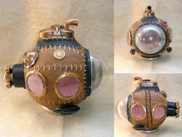 Handmade unique leather steampunk style submarine model