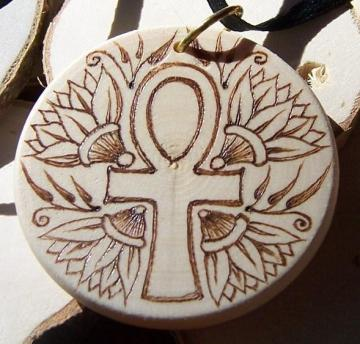 Ankh and Lotus Wood Pendant - Made to Order