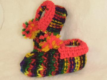 knitted multicolored baby booties newborn