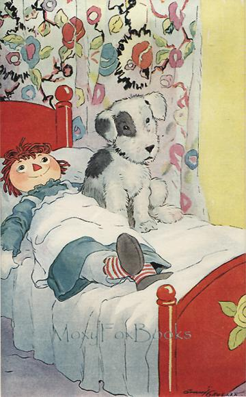 BOOK ILLUSTRATION 1929  RAGGEDY ANN Resting with LITTLE RAGS DOG Colored Bookplate with Professionally Cut Mat 1929 Johnny Gruelle Free US Shipping   