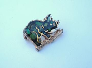 Colorful Koala in a tree small vintage pin brooch