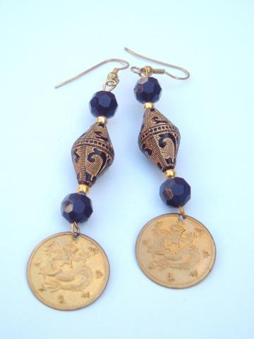 Is your hiney Dragon? Vintage dragon Oriental dangler earrings