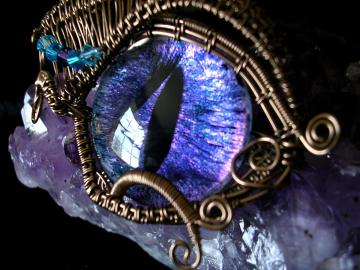 On Hold For Kirchhoff - Steampunk Gothic - Pendant Brooch - Dragon Evil Eye - Blue Violet Purple Bronze - Color Shift - One of a kind