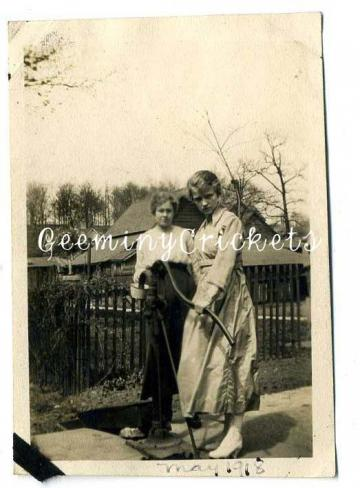 YOU HOLD THE POT, I WILL PUMP THE WATER - ANTIQUE PHOTOGRAPH OF COUNTRY LIFE