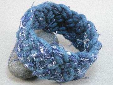 Denim fabric turks head bracelet 1696
