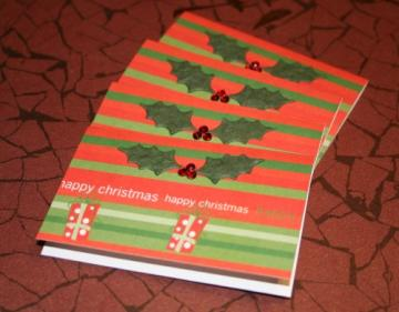 4 Mini Christmas Holly & Berries Christmas Cards