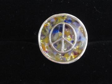 Peace Adjustable Ring on Northern Lights
