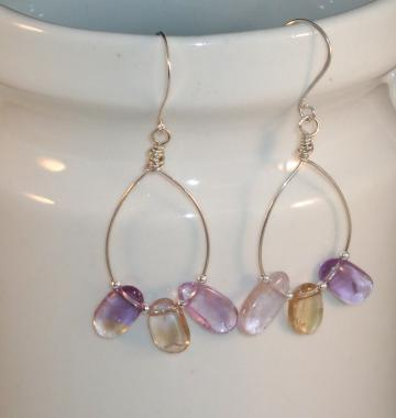 Ametrine Oval Drop Earrings