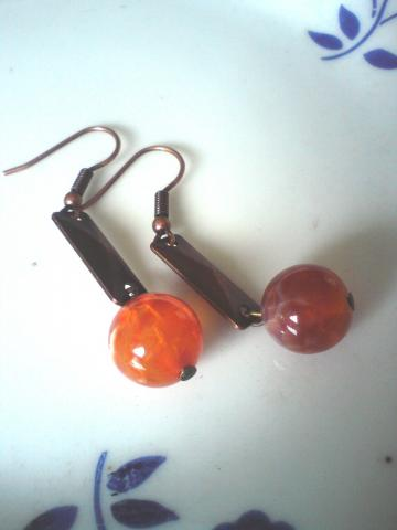Dragon vein fire agate earrings
