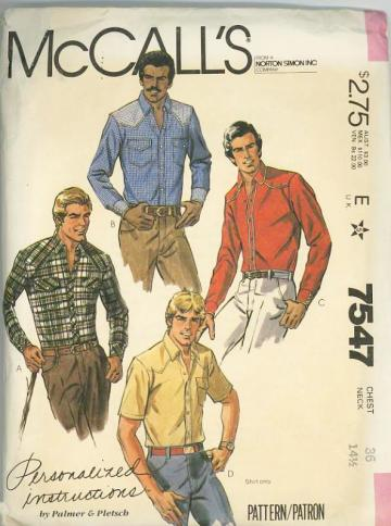 McCalls 7547 Sewing Pattern Mens Western style Shirts Chest 36