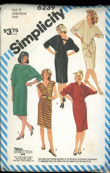Simplicity 6239 Sewing Pattern Misses T-shaped Dress Loose Sexy Fit sizes 10 12 14
