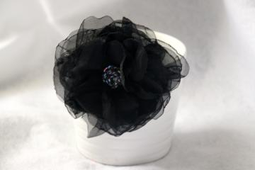 Black Organza Fabric Flower - Clip - Ready to Ship