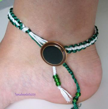 white and green macrame anklet 