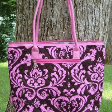 Large Prissy Pink and Brown Damask QUILTED tote with pockets and bo......