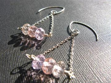 Swarovski Rondelle & Sterling Silver Earrings in Pink Shades, Wedding Jewelry, Bridal Earrings, Bridesmaids Jewelry, Swarovski Crystal