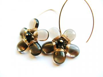 Gold Fill & Smokey Quartz Flower Earrings - Statement Piece - Wire Wrapped, Gemstone Flower, AAA Quality Gemstones