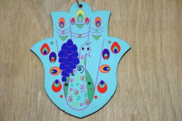 chamsa colorful wall hanging printed wood Peacock hamsa