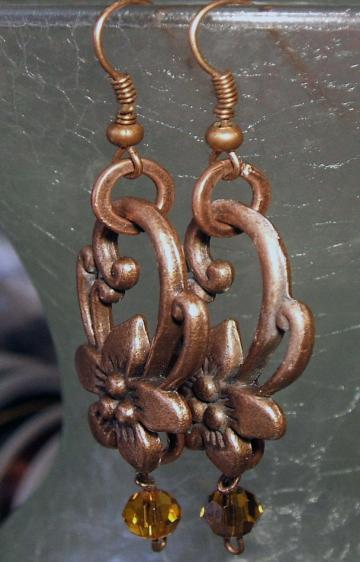 Antique Copper Flower Pierced Earrings