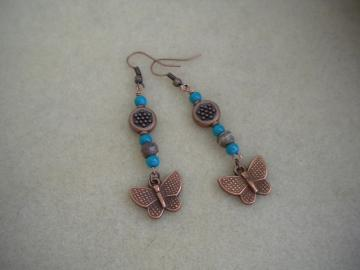 Copper Butterflies Earrings