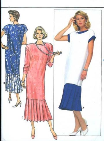 UnCut Butterick 3845 Sewing Pattern Misses Back Buttoned 1980s Dress Bust 38