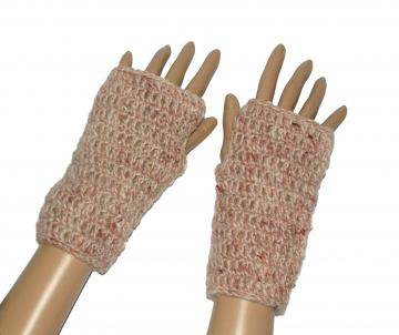 Hand spun neutral beige brown cream Fingerless Crochet Gloves Mittens