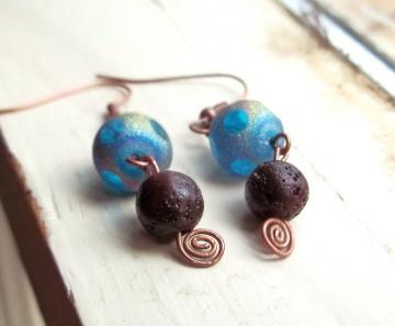 Glass and Lava Rock Earrings - Multi-colored and Brown