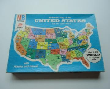 1975 United State World Map Puzzle Milton Bradley 4806