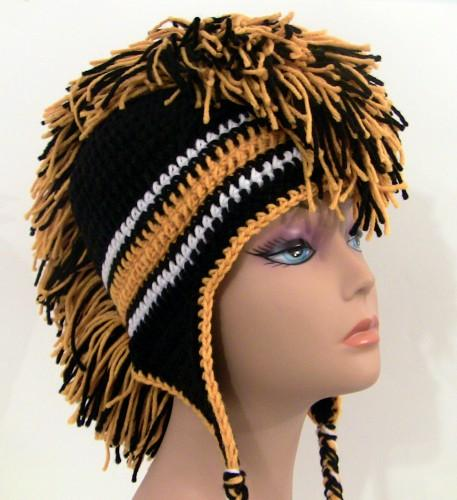 Crochet Mohawk Hat - Black and Gold