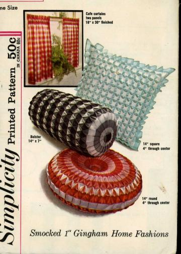 UnCut Vintage 1960s Simplicity 4679 Sewing Pattern Smocked Pillows Retro Home Decor