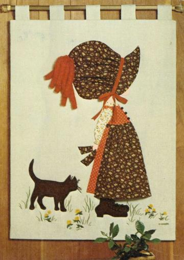 UnCut Simplicity 6544 Vintage 1970s Holly Hobbie Appliqued Wall Hanging