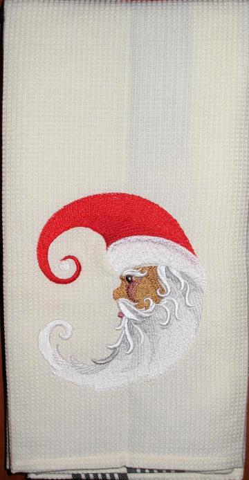 CRESCENT MOON SANTA kitchen towel