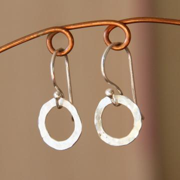 Teeny Silver Circle Earrings