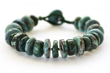 Bracelet: Alternating Chinese and African turquoise, sterling spacers