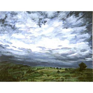 Storm Near Cortona (Italian Landscape Painting)  