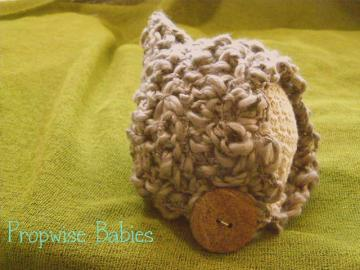 Newborn Crochet Thick and Thin Spun Photography Prop Button Pixie Taupe