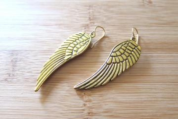 Large Antiqued Angel Wings Embossed Charm Earrings in Gold Tone