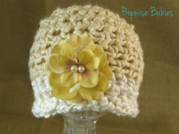 Crochet Newborn Baby Girl Ivory and Tan Beanie with Pearl Beads Flower