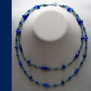 Blue Peacock Double Necklace