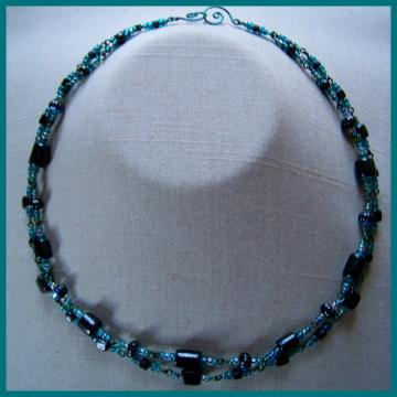Black and Teal Double Necklace
