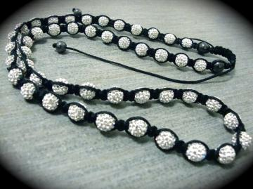 Shamballa White Swarovski Pave Ball Chain And Hematite Accents