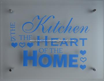 Perspex wall art - The kitchen is the heart of the home