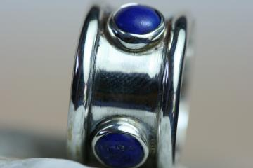 Lapis ring 4 Lapis set in Handmade Sterling silver