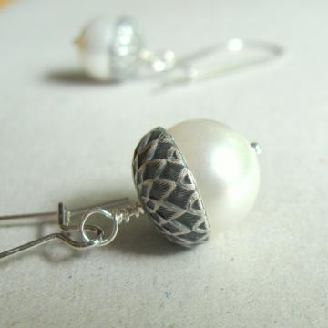 Silver Acorn Pearl Acorn Earrings by The Brass Hussy