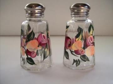 Salt and Pepper Set painted with Peach and berry rosebuds