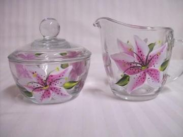 Cream and Suger Set painted with pink stargazer lilies
